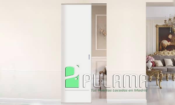 puerta corredera blanca lacada